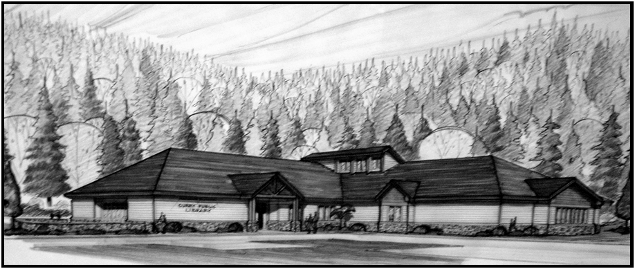 architectural sketch of curry public library
